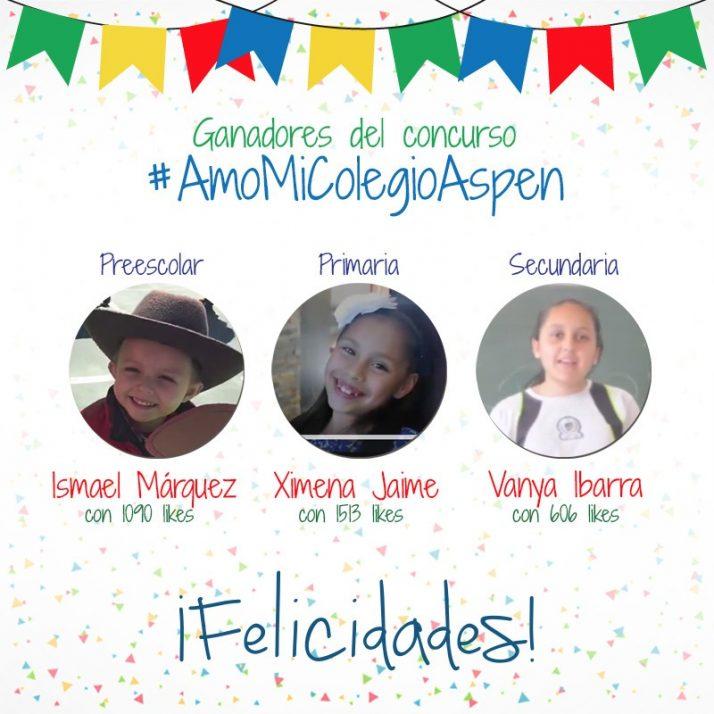 Ganadores del concurso «Yo amo mi colegio Aspen»